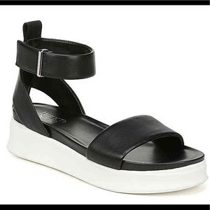Black leather flatform sandals